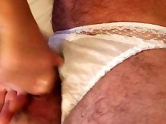 Nylon panty handjob