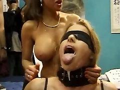 Bukkake for Beautiful Blindfolded Blonde
