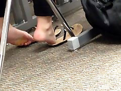 Candid College Cheerleader Feet in Class 2