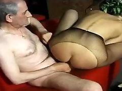 Old man fucking a blonde slut in a bar