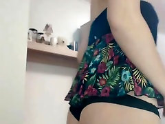 SKINNY BLOND WHORE SHOWS AND FINGERS HER ANUS
