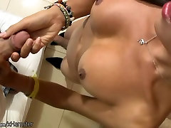 Asian t-girl spreads ass cheeks for camera and jerks off