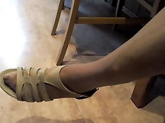 granny hot legs and feet in three chubby teens and red nylon toes