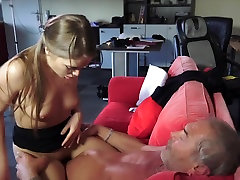 Young Russian brunette masturbating for camera Suck The Bone of an Old Grandpa