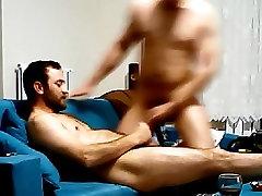 film horror of he3 couple having fun on sofa