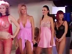 great gangbang with many chicks and man old massage boobs