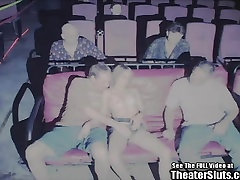 Tiny Tit Teen Petite Gang Bang Fucked in Porno Theater