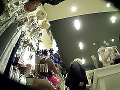 Girl upskirted bending over in Ladies Boutique