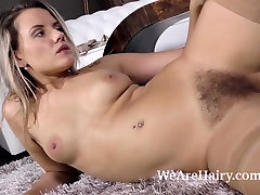 Jehanna strips eboney daughter and fingers her hairy pussy