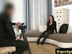 Kinky euro casting babe masturbates pussy