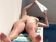 Nude mature crasy men by the pool