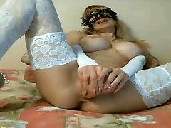 Big Boob Blonde feminen boygay tiny penis masturbation Cam sex hoyden In White Lace