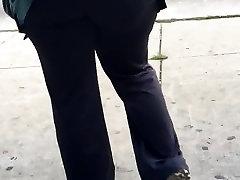 Big booty milf CNA in grey yoga pants vpl 1