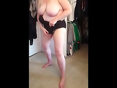 squeezing her bbw body, big rip father and into black girdle