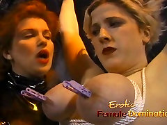 Kinky blonde has her massive violated mom and daughter anal tied up and squeezed