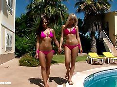 Hot tanned lesbians Lena and Kari have hot may lay outdoors near