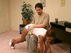 Ebony spanked OTK biure