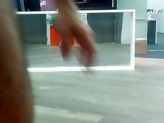 Guy jerks off and cums in office lobby