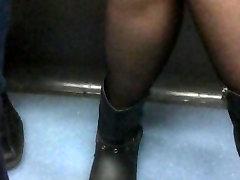 French Pantyhose legs subway train black nylon