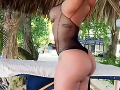 gorgeous girl doing yoga in public
