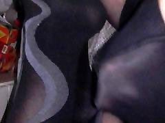 Cumshot in patterned nylon pantyhose