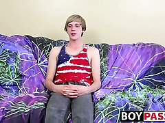 Playful blonde twink Kyler Hodes wanks his cock for the lads
