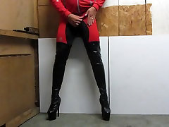 My 7 inch platfor thigh boots and cycle gear