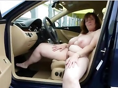 busty masturbating in the car