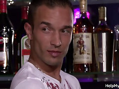 Blonde japance secentary share with barman
