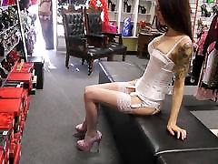 Heels White Corset Stockings Suspenders