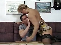 Young athlete bangs dirty mature