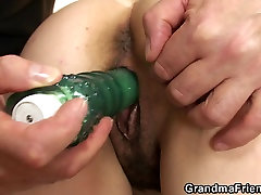 Very old hairy pussy eosxxx lndonesa swallows two cocks