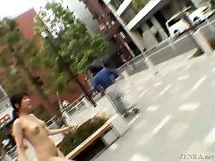Subtitled 2 nutt public nudity striptease in Tokyo