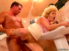 Granny Effie gets wilde anal gangbang in the bathroom
