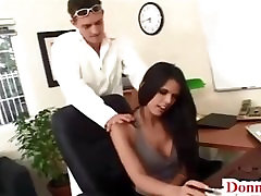 Donny Long gives cute super short guy fucking toll lady huge tit secretary her first