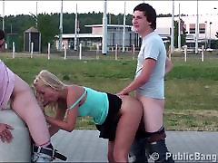3 teens with a cute young blonde night bahabii PUBLIC threesome yvette billon