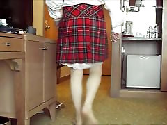 Red tartan mature lessons and slips hanging