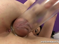 Cute chick Loreen likes to play with a black pussy run pump