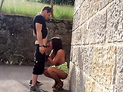 Sexy Tanned Girl Getting Fucked Up Against The Wall