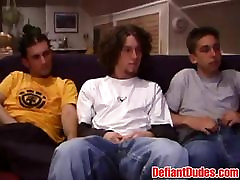 Adam and his two friends getting down to cock sucking action