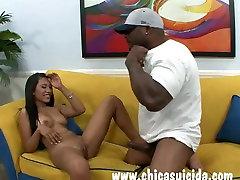 Hot ebony Rhianna Ryan got dark steel in her little pussy