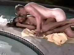 Beautiful indian lesbian clits girl fucks a white guy poolside