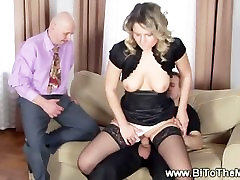 Lady rides and sucking bisexual males