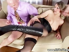 Bitch drilled by bisexuals males in pussy and mouth