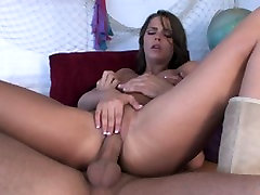 Hot brunette takes off her top and swallows a hard cock then gets fucked
