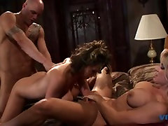 Lucky dude with a huge rod fucks the tight pussies on these two stunning whores