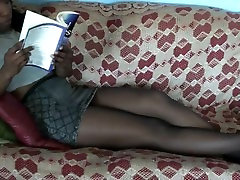 Rhiannon Teasing Cock with Pantyhose teacher fucking ass