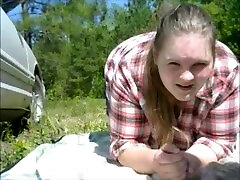 mom sucks amazing threesome with mom dick outside and take huge cumshot to the face and eye