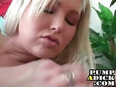 Big tit blonde loves jerking dick