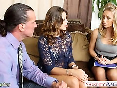 Hot chicks Carmen McCarthy and brunette hottie rita Aniston share cock